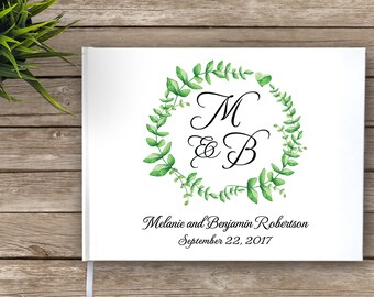 Wedding Guest Book with Monogram, Wreath, Floral Wreath, Garden Wedding Guestbook, Guest Book, Rustic Wedding, Wedding Journal