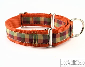 """Fall Plaid / Orange Tartan Dog Collar / 1"""" (25mm) Wide / Martingale or Quick Release Dog / Choice of style and size / Autumn / Thanksgiving"""
