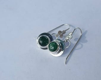 Green Aventurine and sterling silver drop earrings for women, circular aventurine drop earrings, green circular drop earrings, apmac