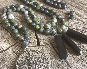 Everything is Connected * Jasper, Serpentine, Larvikite Mala