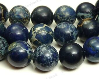 10mm Midnight Blue Aqua Terra Jasper Round Gemstone Beads - 16 Inch Strand - BH19