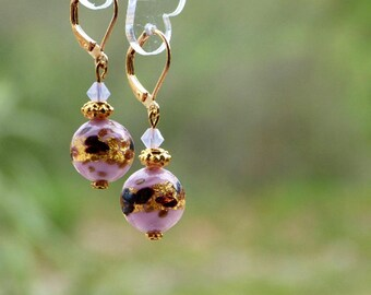 Leverback style pink Murano glass with gold leaf