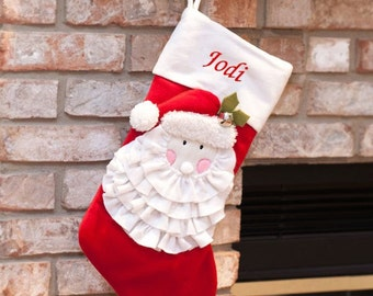 Embroidered Festive Santa Christmas Stocking, personalized, personalized stocking, christmas, xmas, christmas decor, jolly -gfyS96459