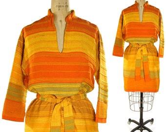60s Pakistani Sunrise Tunic / Vintage Woven Art to Wear Indian Mini Dress / Unusual Ethnic Hippie Boho Bohemian Southwest Festival/ Medium