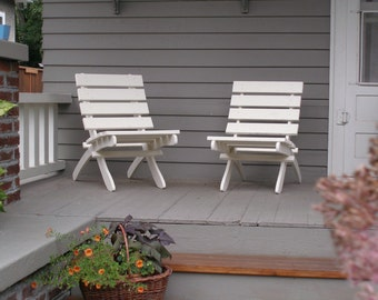 Cedar Chair for Deck, Garden, Porch, Patio - Stained White - Custom Outdoor Furniture handcrafted by Laughing Creek