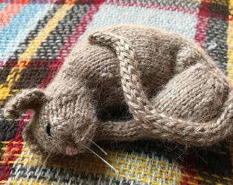hand knit sleeping cat with lavender