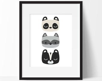 Woodland Animals Nursery Print, Woodland Room Decor, Forest Nursery Art, Animal Faces Print