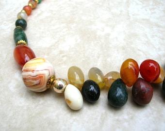 Vintage Gemstone Necklace - Gemstone Bead Jewelry - Agate Necklace - Vintage Stone Necklace - 20 Inches