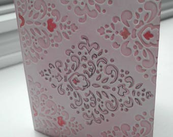 Now 1.00 Shipping Beautifully Embossed Damask Motif Note Card with Pink and Black Accents for Any Occasion