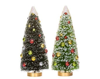 """Sisal bottle brush tree with glitter snow and beads - 12"""""""