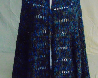 Crocheted Poncho/Shawl-Handcrafted Poncho/Shawl/Wrap-Crocheted Blue Varigated Ponch/Shawl/Wrap-Handcrafted Blue Varigated Ponch/Shawl/Wrap