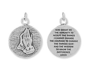 Sterling Silver Serenity Prayer Charm Pendant Praying Hands 2 sided
