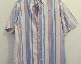 A Men's PREPPY Vintage 80's Short Sleeve Pastel Striped Oxford Shirt By HUNT CLUB.L(Tall)