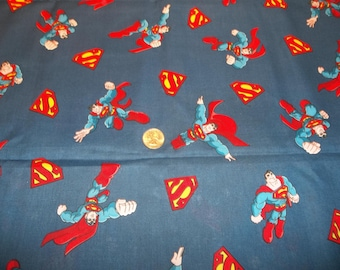 Tossed Superman with S Symbol on Deep Blue Background Cotton Fabric 1 Yard + 20""