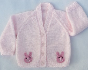 Baby girl hand knitted pale pink cardigan to fit 3 - 6 months