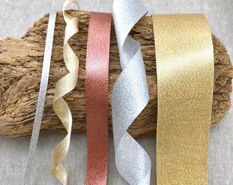 "Sparkle Satin Ribbon - Rose Gold - Silver - Champagne Gold - 1/8"" 3/8"" 5/8"" 1"" 1 1/2"" - 1m 3m 5m 10m lengths - Metallic Sparkle Ribbon"