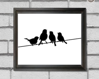 Printable wall art decor print, Birds on a Wire print, digital image, INSTANT DOWNLOAD