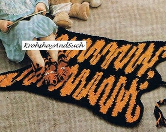 Tiger Rug And Slippers, Crochet Pattern. PDF Instant Download.
