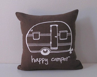 Pillow Cover - Happy Camper Vintage Trailer  - 12 x 12 inches by Sweetnature Designs - Choose your fabric and ink color - Accent Pillow