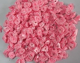 Pink Satin Ribbon Roses-12mm-25 PCS.