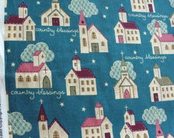 3 1/8 yards Cotton Fabric Printed with Churches on Green / Country Blessings / N.T.T. Inc.