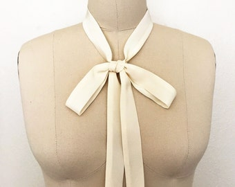 "Skinny scarf in ivory silk is 53""x 1"". Thin bow tie. Womens neck tie. Silk ascot. Ivory neck scarf. Bolo. Choker scarf. Bow tie scarf."