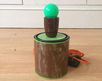 Handmade distressed rustic lime green patina paint can lamp