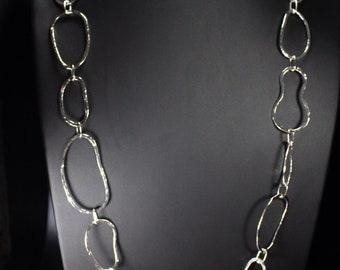 Silver sautoir necklace