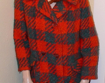 Mad for Plaid orange and turqouise plaid trench