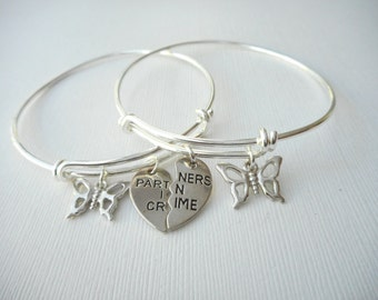 2 Partners in Crime, TINY Butterfly- Best Friend Bracelets/ In crime jewelry, in crime bracelet, bff jewelry, gift ideas, Sister gift, Bff