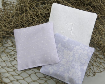lavender sachets, lavender scented pillows, monogram drawer sachets