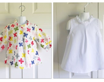 "Girls Retro Tunic - ""Hattie"" blouse - 12 mos to size 12 -FABRIC CHOICE - retro look - sleeve length options"