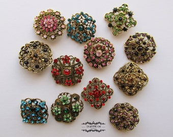 12  Bronze Brooch Lot Antique Brass Rhinestone Mixed Color Pin Wholesale Crystal Wedding Brooch Bouquet Bridal Button Embellishment DIY