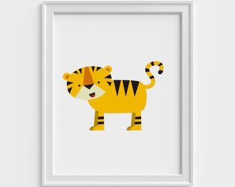 Tiger Art Print, Kids Art Prints, Nursery Art Prints, Kids Wall Art, Nursery Wall Art, Kids Modern Art Prints, Kids Bedroom Wall Decor