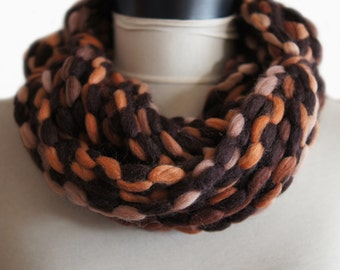 Infinity scarf, knit infinity scarf, scarf necklace in Brown