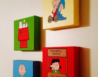 A set of 4 minimalistic Hand Painted Acrylic Canvas inspired by Peanut's Character