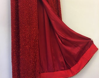 Red beaded gown * Vintage 1990s halter dress * 90s beaded silk party dress
