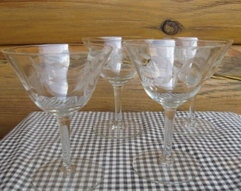 FOUR Etched Glass Wine Champagne Glasses