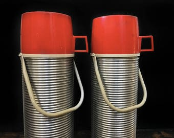 Vintage Thermos Set, Pair of Thermoses, Thermos with Handle, Metal Thermos, Red Cap, Camping Gear, Rustic Decor, Picnic