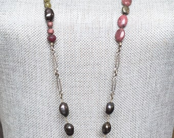 Long Necklace with Aquamarine and Freshwater Pearls with Rubies and a Sterling Silver Heart Pendant, Love, Bridal, Birthstone, Gemstone