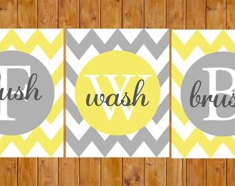 Yellow Grey Chevron Bathroom Wall Decor Flush Wash Brush Teen Adult Jack and Jill Instant Download 8x10 Digital JPG Files (169yc)
