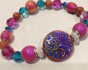 Mood Bracelet, Unique Bracelet, Swarovski Crystal, Mood Beads, Color Changing Bracelet