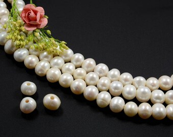 Natural White Pearl, 10mm to 11mm, Grade A Pearls, Large Hole Pearl, 2.5mm/ 3.2mm, Potato Shape Pearl, High Luster Cultured Pearl