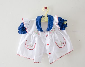 Vintage Baby Dress Vintage Blue Red Green White Dress Size 0-6 Months Polka Dot Dress Buttons