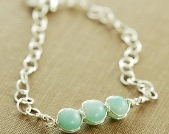 Aquamarine Blue March Birthday Bracelet, Amazonite Sterling Silver Bracelet, Beaded Birthstone Jewelry
