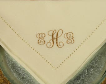 50 Cotton Monogrammed Wedding Napkins in the Elegant Font