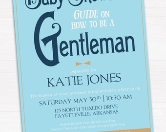 The Baby Shower Guide on How to be a Gentleman Invitation // Digital, Printable File