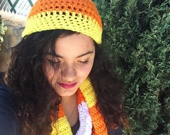 Candy corn scarf, halloween scarf, halloween beanie,candy corn beanie, candy corn,halloween, halloween beanie and scarf,long halloween scarf