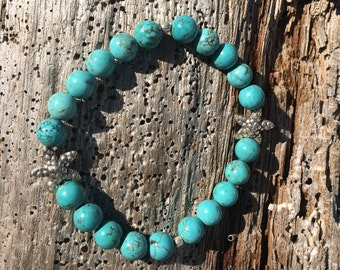 Southwestern turquoise and starfish beaded bracelet