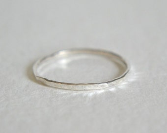 Sterling Silver Hammered Ring, Silver Hammered Band, Stackable Ring, Stacking Ring, Dainty Ring, Hammered Stacking Ring